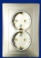 Розетка двойная с/з и защитными шторками Sedna (алюминий)