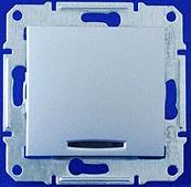 Переключатель одноклавишный с индикацией Sedna (алюминий)